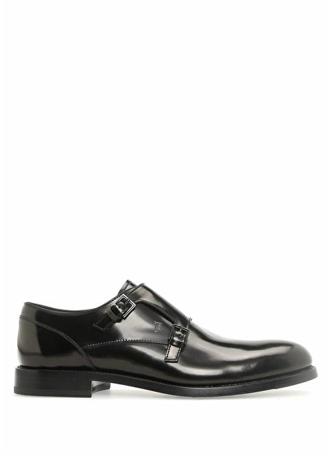Tod's %100 Deri Çift Tokalı Ayakkabı Siyah